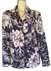 Coldwater Creek Navy Cotton Blend Floral Blue Jacket