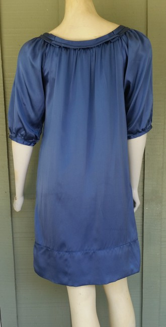 Max Studio short dress Blue Silk Charmeuse Elbow Length Sleeves on Tradesy