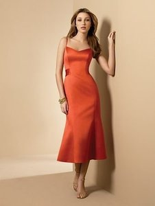 Alfred Angelo Persimmon Satin Style 6542 Casual Bridesmaid/Mob Dress Size 6 (S)