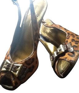 Linea Paolo Brown Leopard Pony Hair print and brown patent trim Pumps