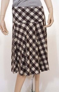 Ralph Lauren Womens Brown Cream Wool Check Below Knee Flare A Line Skirt Multi-Color