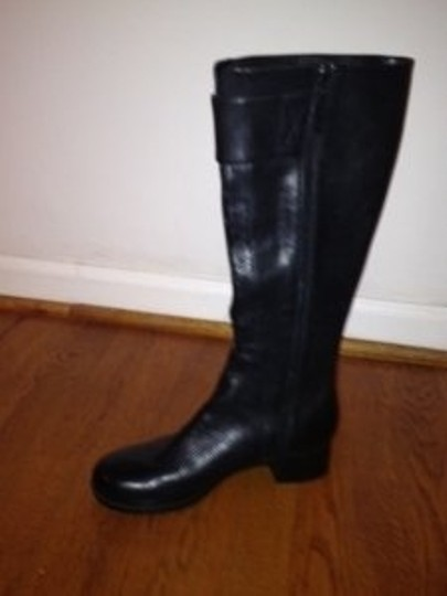 Calvin Klein Tall Leather Side-zipper Black Boots
