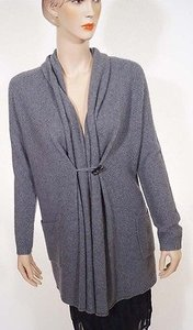 Tahari Womens Ply Cashmere Long Draped Shawl Wrap Cardigan Sweater