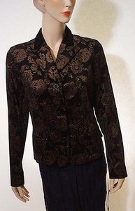 Ralph Lauren Lauren Ralph Lauren Womens Black Gold Filigree Lined Suit Jacket Blazer Coat