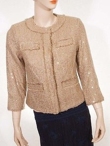 Michael Kors Michael Kors Womens Brown Sequined Boucle Fringe Tweed Jacket Blazer Coat