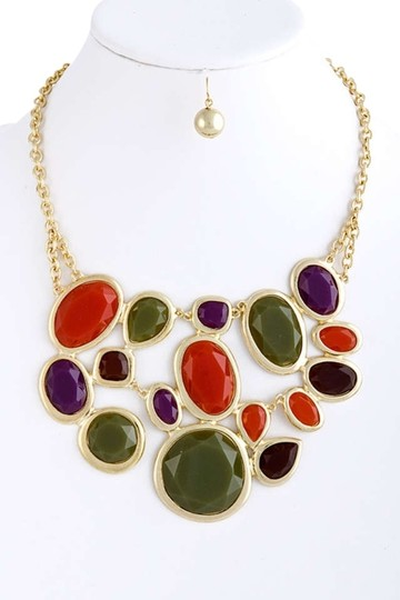 Unknown Chunky Multi Color Mix Faceted Jewel Bib Statement Necklace Set