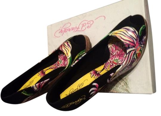 Ed Hardy Tattoo Cool Design Open Toe Black and multi Wedges