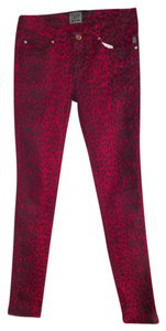 Tripp Nyc Fashion Felon X Skinny Pants red animal print
