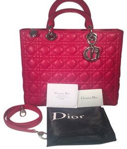 Dior Lamb Leather Preown Vitange Lady Limited Edition Italian Silver Hardware Lady Handbags Tote in Hot Pink