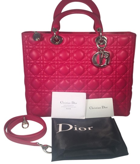 Preload https://img-static.tradesy.com/item/3380989/dior-lady-dior-with-silver-hardewear-hot-pink-lamb-leather-tote-0-0-540-540.jpg