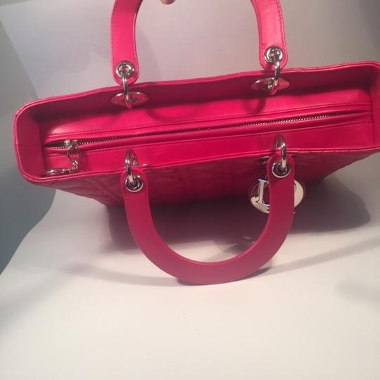 Dior Lamb Leather Preown Vitange Lady Limited Edition Italian Silver Hardware Lady Handbags Purse Tote in Hot Pink Image 10
