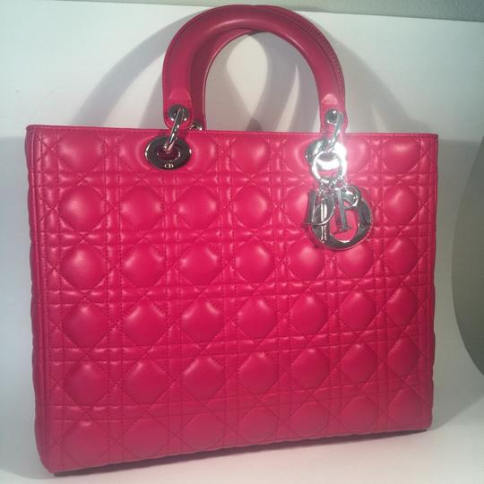Dior Lamb Leather Preown Vitange Lady Limited Edition Italian Silver Hardware Lady Handbags Purse Tote in Hot Pink Image 2