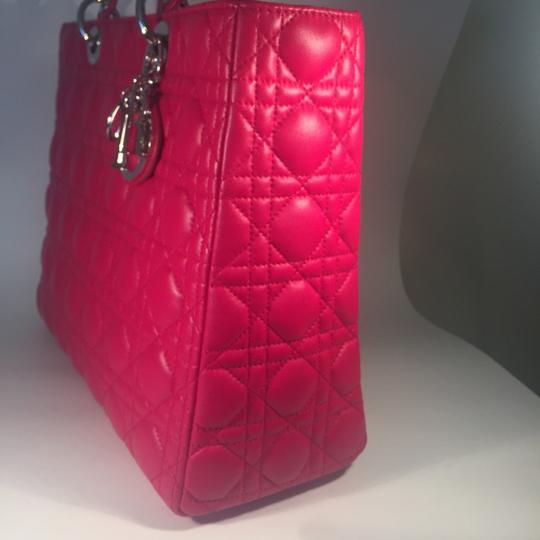 Dior Lamb Leather Preown Vitange Lady Limited Edition Italian Silver Hardware Lady Handbags Purse Tote in Hot Pink Image 3