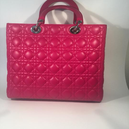 Dior Lamb Leather Preown Vitange Lady Limited Edition Italian Silver Hardware Lady Handbags Purse Tote in Hot Pink Image 4