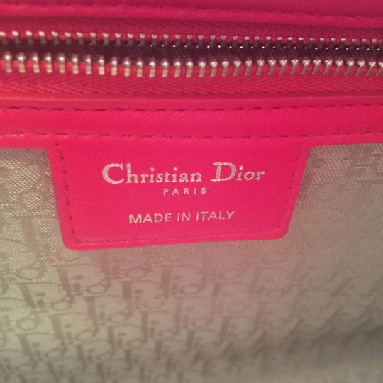 Dior Lamb Leather Preown Vitange Lady Limited Edition Italian Silver Hardware Lady Handbags Purse Tote in Hot Pink Image 6