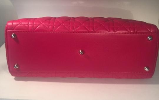 Dior Lamb Leather Preown Vitange Lady Limited Edition Italian Silver Hardware Lady Handbags Purse Tote in Hot Pink Image 7