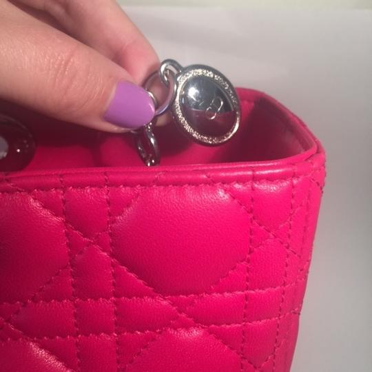 Dior Lamb Leather Preown Vitange Lady Limited Edition Italian Silver Hardware Lady Handbags Purse Tote in Hot Pink Image 8