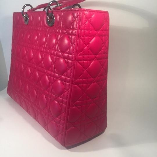 Dior Lamb Leather Preown Vitange Lady Limited Edition Italian Silver Hardware Lady Handbags Purse Tote in Hot Pink Image 9