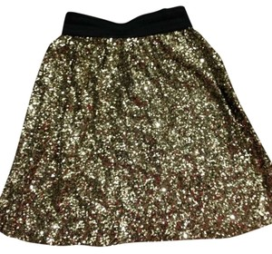 Kersh Sparkle Sequin Holiday Special Occasion Skirt Gold