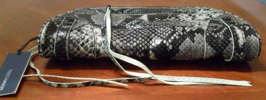 Rebecca Minkoff Stone Python Python Embossed Leather Embossed Leather Mason Black Clutch
