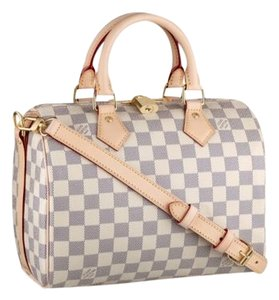 Louis Vuitton -shiny Golden Brass Hardware And Padlock -adjustable Shoulder Strap For Hand Cross-body Or Shoulder Carry --rounded And Satchel in Damier Azur Canvas
