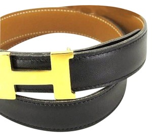 Hermès Hermes Belt Reversible Black Brown Gold Buckle H Logo