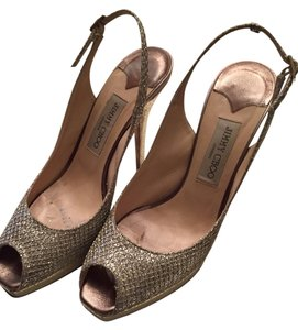 Jimmy Choo Glitter Platform Gold Sandals