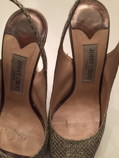 Jimmy Choo Glitter Platform Slingback Next Day Shipping Gold Sandals