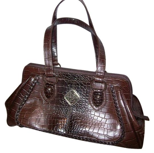 Preload https://item2.tradesy.com/images/coldwater-creek-classy-embellished-brown-faux-croco-satchel-33821-0-0.jpg?width=440&height=440