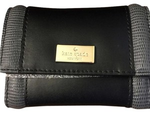 Kate Spade Id Window Multi Slots Keychain Leather BLACK/GREY Clutch