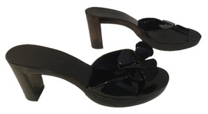 Robert Clergerie Flower See Through Heels French Ons Black leather and clear dark slip on Mules