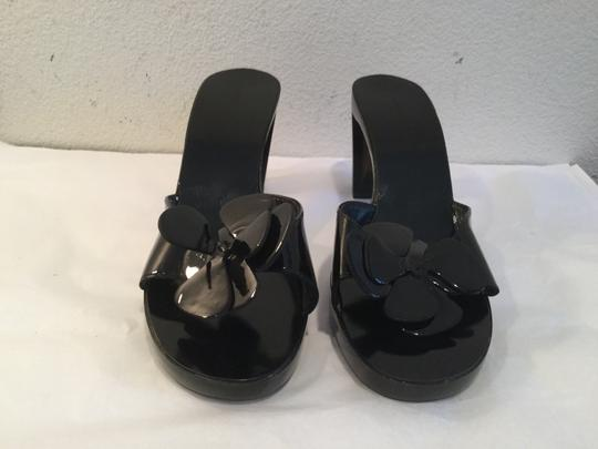 Robert Clergerie Flower See Through Heels French Black leather and clear dark slip on Mules