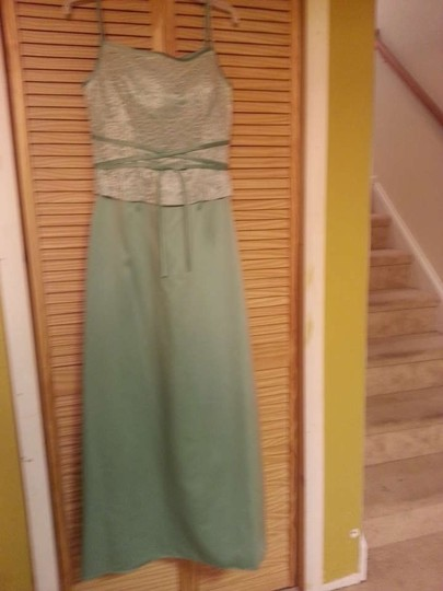 Alfred Angelo White & Glass Green Polyester 6312 Formal Dress Size 10 (M)