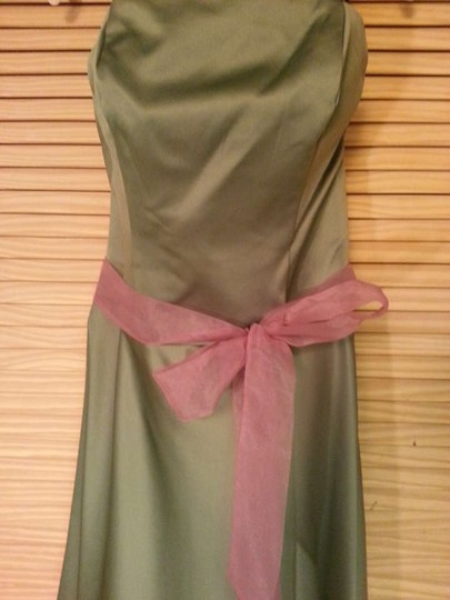 Alfred Angelo Clover & Dusty Rose Satin Organza 6304s Formal Bridesmaid/Mob Dress Size 10 (M)