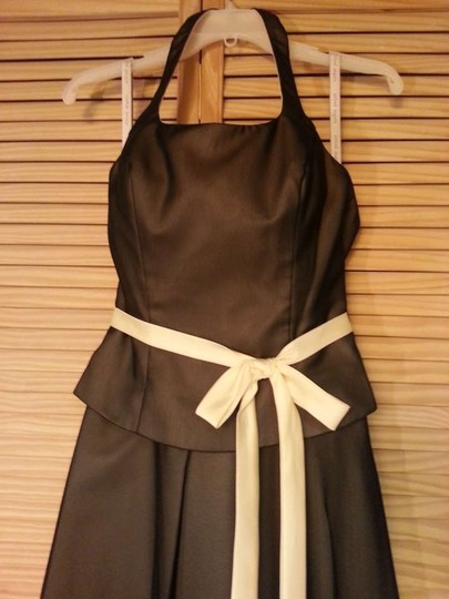 Alfred Angelo Black Butter (Brown) Satin & Chiffon 6226 Formal Bridesmaid/Mob Dress Size 6 (S)