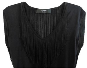 Lanvin Fringe Silk Top Black