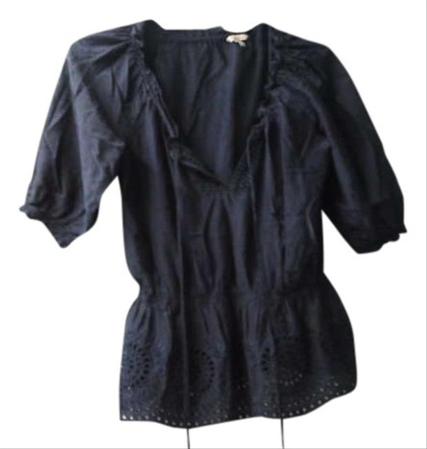 Heritage 1981 Romantic Charming Elastic Collar And Sleeves Drawstring Collar Off The Elastic Waist Eyelets Embroidery True Slight Top NAVY