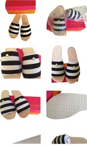 Kate Spade New In Box Never Worn WHITE/BLACK STRIPE Sandals