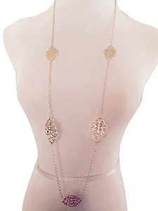 Liza Kim Gold-Tone Scroll Design Long Necklace