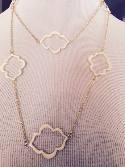 Other White Enamel Clover Design Long Necklace