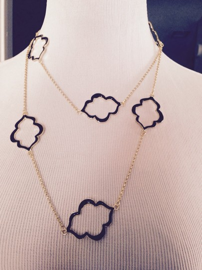 Other Black Enamel Clover Design Long Necklace