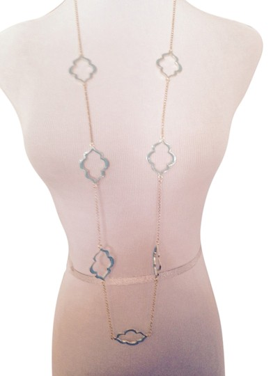 Other Turquoise Blue Enamel Clover Design Gold Long Necklace