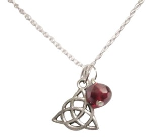 New Celtic knot red crystal sterling silver filled necklace, wicca pagan amulet. Free Shipping!