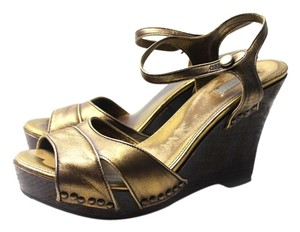 Prada Wood Leather Riveting Goldtone No Shipping Fee No Tax Like New Gold Wedges