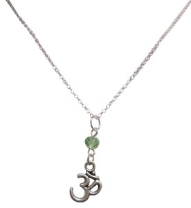 New Ohm om charm green jade sterling silver filled necklace, yoga namaste peace.