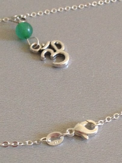 Other New Ohm om charm green jade sterling silver filled necklace, yoga namaste peace.