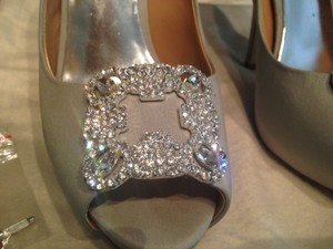 Badgley Mischka Rhinestone Peeptoe Gayla Silk Wedding Shoes