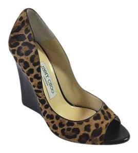 Jimmy Choo Open Toe Leopard Wedges