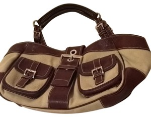 Prada Satchel in Neutral Canvas With Brown Leather Accents