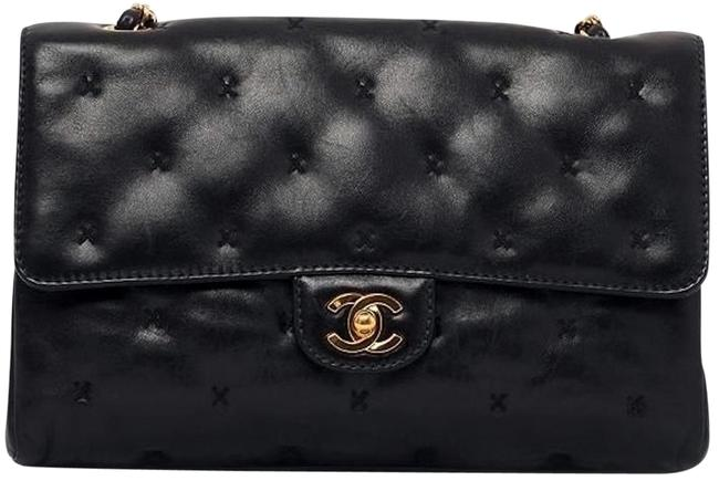 Chanel Classic Flap 2.55 Reissue Cross Stitch X Quilted Small Medium Timeless Tote Black Lambskin Leather Shoulder Bag Chanel Classic Flap 2.55 Reissue Cross Stitch X Quilted Small Medium Timeless Tote Black Lambskin Leather Shoulder Bag Image 1